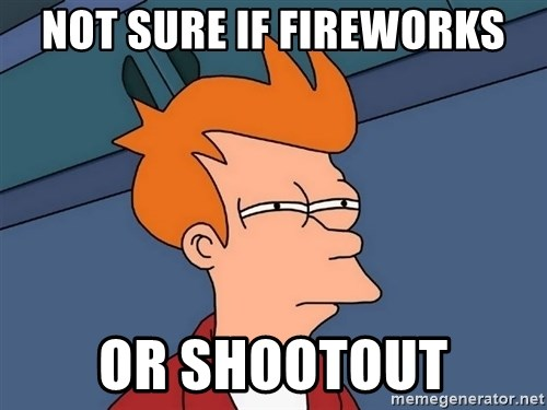 Futurama Fry - Not sure if fireworks or shootout