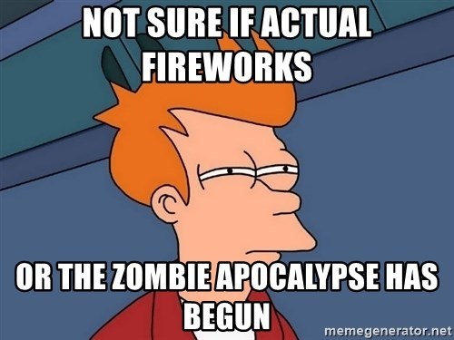 Futurama Fry - Not sure if actual fireworks  or the zombie apocalypse has begun