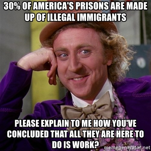 Willy Wonka - 30% of america's prisons are made up of illegal immigrants please explain to me how you've concluded that all they are here to do is work?