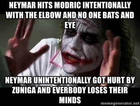 joker mind loss - Neymar hits modric intentionally with the elbow and no one bats and eye neymar unintentionally got hurt by zuniga and everbody loses their minds