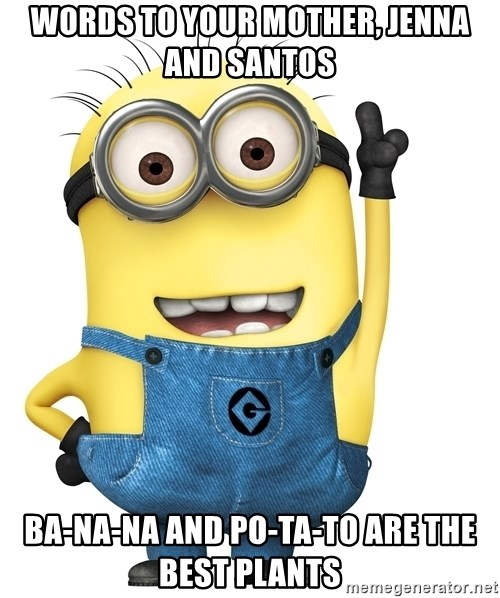 Despicable Me Minion - Words to your mother, Jenna and santos Ba-na-na and Po-ta-to are the best plants