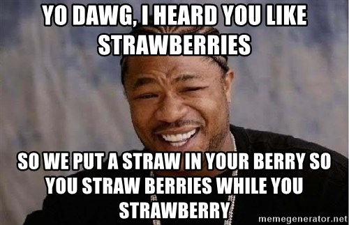 Yo Dawg - yo dawg, I heard you like strawberries so we put a straw in your berry so you straw berries while you strawberry