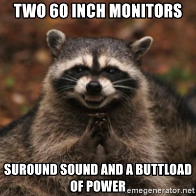evil raccoon - two 60 inch monitors  suround sound and a buttload of power
