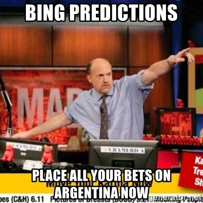 Karma Cramer - bing predictions place all your bets on Argentina now
