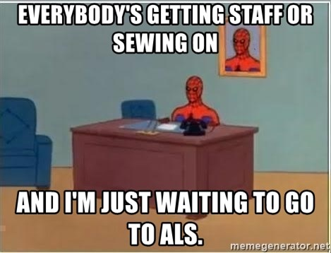 Spiderman Desk - everybody's getting staff or sewing on AND I'M JUST WAITING TO GO TO ALS.