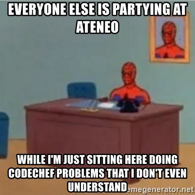 60s spiderman behind desk - everyone else is partying at ateneo while i'm just sitting here doing codechef problems that i don't even understand