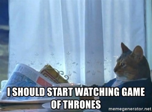 newspaper cat realization -  I should start watching Game of Thrones