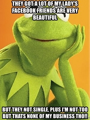 Kermit the frog - They Got a lot of my lady's Facebook friends are very Beautiful  But They Not Single, Plus I'm Not Too But Thats none of my business Tho!!