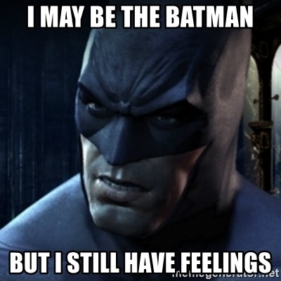 Are you serious Batman - I may be the batman but I still have feelings