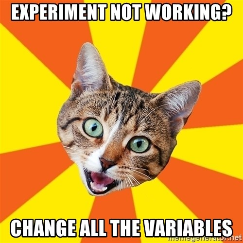 Bad Advice Cat - Experiment not working? change all the variables