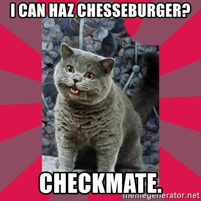 I can haz - I CAN HAZ CHESSEBURGER? CHECKMATE.