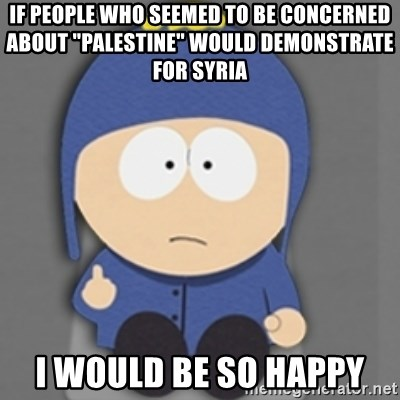 """South Park Craig - If people who seemed to be concerned about """"Palestine"""" would demonstrate for Syria I would be so happy"""