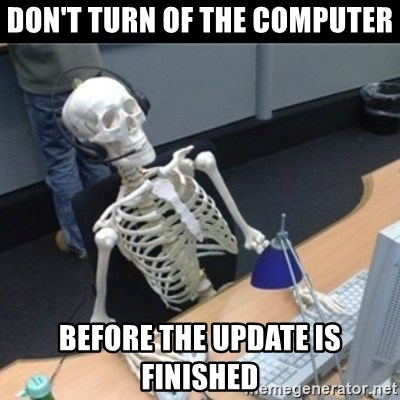 Skeleton computer - Don't turn of the computer Before the update is finished