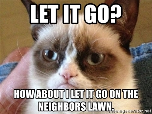 Angry Cat Meme - Let it go? How about i let it go on the neighbors lawn.