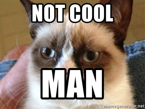 Angry Cat Meme - NOT COOL MAN