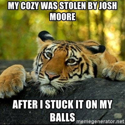 Confession Tiger - my cozy was stolen by josh moore After I stuck it on my balls