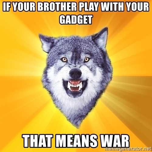 Courage Wolf - if your brother play with your gadget that means war
