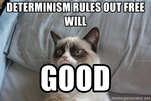 Grumpy cat good - Determinism rules out free will good