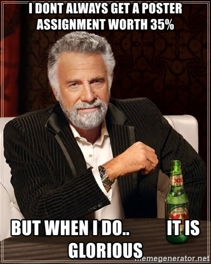 The Most Interesting Man In The World - I dont always get a poster assignment worth 35% but when i do..           it is glorious