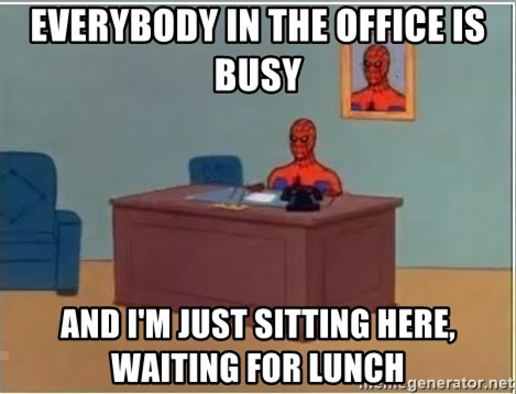 Spiderman Desk - Everybody in the office is busy and i'm just sitting here, waiting for lunch