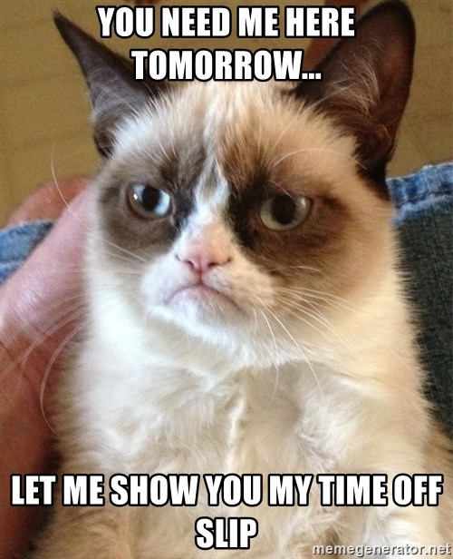 Grumpy Cat Face - You need me here tomorrow... Let me show you my time off slip