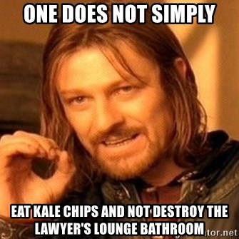 One Does Not Simply - One does not simply eat kale chips and not destroy the lawyer's lounge bathroom