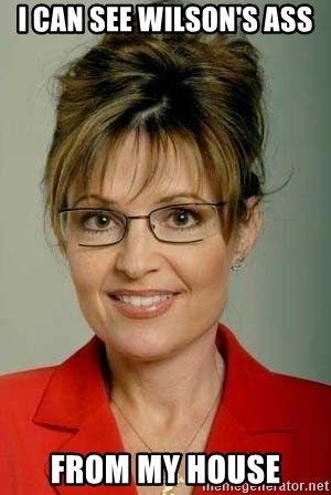 Sarah Palin - I can see Wilson's ass from my house