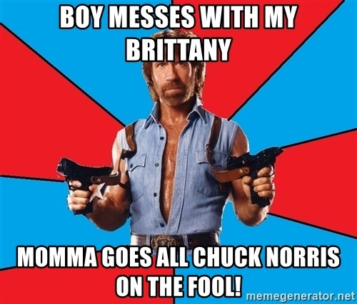 Chuck Norris  - BOY MESSES WITH MY BRITTANY MOMMA GOES ALL CHUCK NORRIS ON THE FOOL!