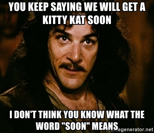 "Inigo Montoya - You keep saying we will get a kitty kat soon I don't think you know what the word ""soon"" means"