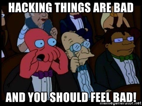 Zoidberg - hacking things are bad and you should FEEL bad!