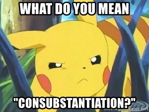 "Unimpressed Pikachu - WHat do you mean ""Consubstantiation?"""