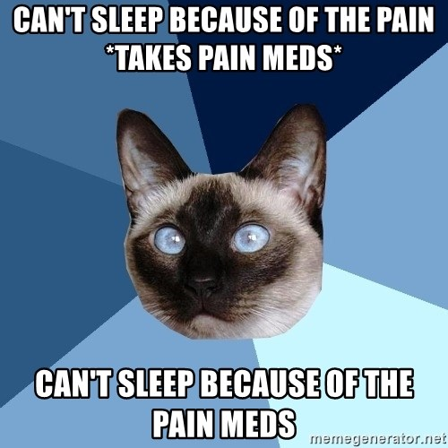 Chronic Illness Cat - Can't sleep because of the pain *takes pain meds*  Can't sleep because of the pain meds