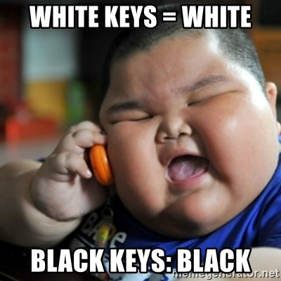 fat chinese kid - White keys = white Black keys: black