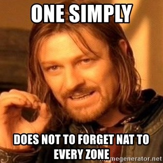 One Does Not Simply - ONE SIMPLY  does not to forget NAT to every zone