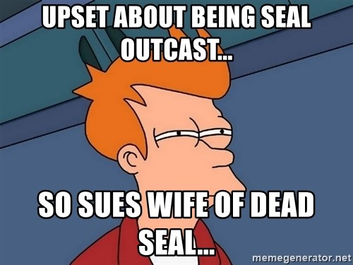 Futurama Fry - Upset about being SEAL outcast... so sues wife of dead SEAL...
