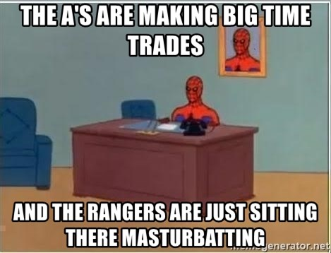Spiderman Desk - The A's are making big time trades And the Rangers are just sitting there masturbatting