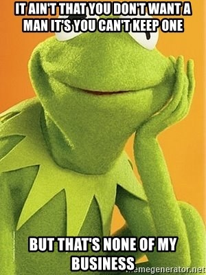 Kermit the frog - It ain't that you don't want a man it's you can't keep one  BUT THAT'S NONE OF MY BUSINESS