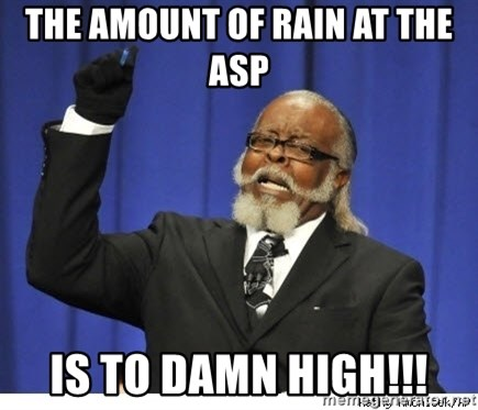 The tolerance is to damn high! - The Amount of rain at the ASP  IS TO DAMN HIGH!!!