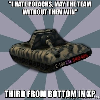 "TERRIBLE E-100 DRIVER - ""I hate polacks, may the team without them win"" third from bottom in xp"