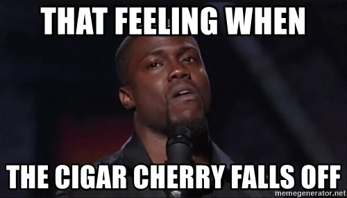 Kevin Hart Face - That feeling when The cigar cherry falls off