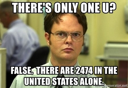 Dwight Schrute - THERE'S ONLY ONE U? FALSE.  THERE ARE 2474 IN THE UNITED STATES ALONE.