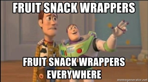 X, X Everywhere  - Fruit snack wrappers Fruit snack wrappers everywhere