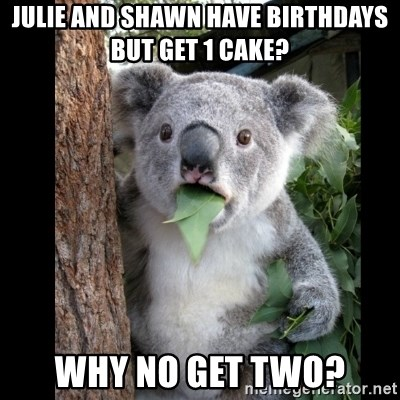 Koala can't believe it - julie and shawn have birthdays but get 1 cake? Why no get two?
