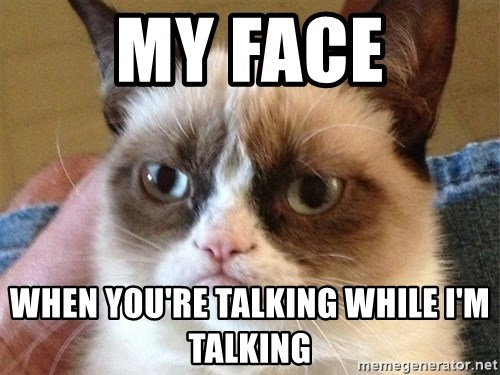 Angry Cat Meme - My face when you're talking while i'm talking