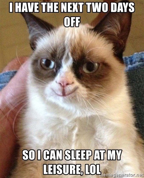 Happy Grumpy Cat 2 - I have the next two days off so i can sleep at my leisure, lol