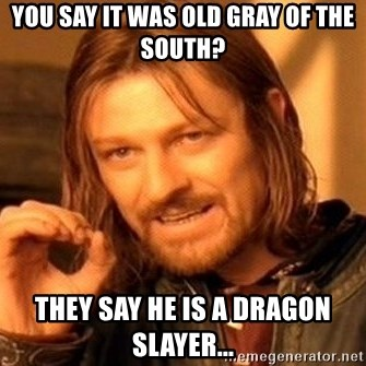 One Does Not Simply - You say it was Old Gray of the South? They say he is a dragon slayer...