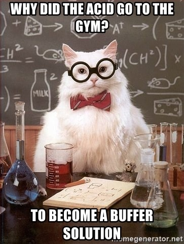 Chemistry Cat - Why did the acid go to the gym? To become a buffer solution