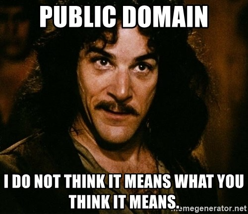 Inigo Montoya - Public Domain I do not think it means what you think it means.