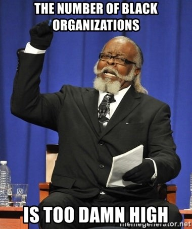 Rent Is Too Damn High - the number of black organizations is too damn high