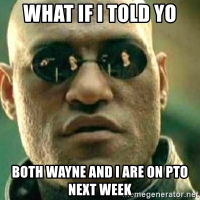 What If I Told You - WHAT IF I TOLD YO Both Wayne and I are on PTO next week